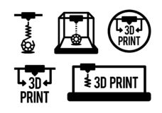 Illustrazione di vettore del processo di stampa 3d nel colore nero isolata sul fondo del vhite illustrazione vettoriale