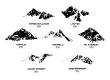 Illustrazione di vettore del profilo dei eight-thousanders Fotografia Stock