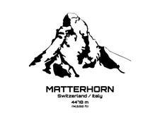 Illustrazione di vettore del profilo del Mt matterhorn Fotografia Stock Libera da Diritti