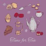 Illustrazione di vettore del ricevimento pomeridiano di tiraggio della mano Fondo del tè con i dolci ed alcuni dolci Fotografia Stock Libera da Diritti
