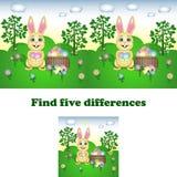 Illustrazione di vettore del ritrovamento le cinque differenze con il coniglietto di pasqua illustrazione vettoriale