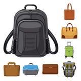 Illustrazione di vettore del segno del bagaglio e della valigia Raccolta dell'icona di vettore di viaggio e della valigia per le  royalty illustrazione gratis