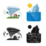 Illustrazione di vettore del segno di disastro e naturale Raccolta del simbolo di riserva di rischio e naturale per il web illustrazione vettoriale