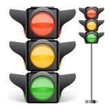 Illustrazione di vettore del semaforo isolata su bianco Immagine Stock