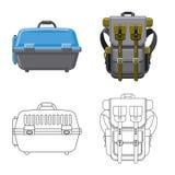 Illustrazione di vettore del simbolo del bagaglio e della valigia Insieme dell'icona di vettore di viaggio e della valigia per le royalty illustrazione gratis