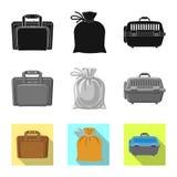 Illustrazione di vettore del simbolo del bagaglio e della valigia Insieme del simbolo di riserva di viaggio e della valigia per i illustrazione di stock