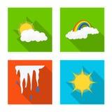 Illustrazione di vettore del simbolo di clima e del tempo Insieme dell'illustrazione di riserva di vettore della nuvola e del tem illustrazione di stock