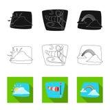 Illustrazione di vettore del simbolo di clima e del tempo Raccolta del simbolo di riserva della nuvola e del tempo per il web illustrazione di stock