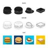 Illustrazione di vettore del simbolo dell'involucro e del panino Metta dell'icona di vettore del pranzo e del panino per le azion illustrazione vettoriale