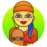Illustrazione di vettore del skateboarder della donna royalty illustrazione gratis