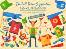 Illustrazione di vettore del sostenitore della squadra di football americano insegna del fan club Attributo del tifoso di calcio, illustrazione di stock