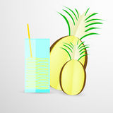 Illustrazione di vettore del succo di ananas sopra Fotografie Stock