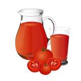 Illustrazione di vettore del succo di pomodoro, isolata su fondo bianco Immagini Stock Libere da Diritti