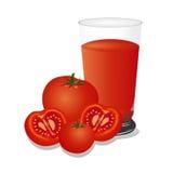 Illustrazione di vettore del succo di pomodoro, isolata su fondo bianco Fotografia Stock