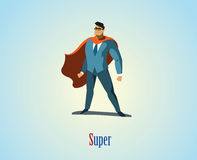 Illustrazione di vettore del supereroe dell'uomo d'affari Fotografia Stock