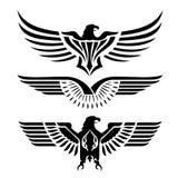 Illustrazione di vettore del tatuaggio dell'icona di Eagle Head Fly Logo Black Immagini Stock Libere da Diritti