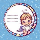 Illustrazione di vettore del telaio con l'angelo sveglio Immagini Stock Libere da Diritti