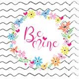 Illustrazione di vettore del telaio dei fiori Primavera o progettazione di estate per le cartoline d'auguri e dell'invito Immagini Stock