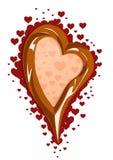 Illustrazione di vettore del telaio del cuore del cioccolato Fotografia Stock