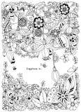 Illustrazione di vettore del telaio floreale Zen Tangle Dudlart illustrazione vettoriale