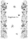 Illustrazione di vettore del telaio floreale Zen Tangle Dudlart illustrazione di stock