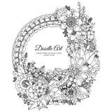 Illustrazione di vettore del telaio floreale Zen Tangle Dudlart Anti sforzo del libro da colorare per gli adulti royalty illustrazione gratis