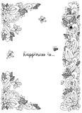 Illustrazione di vettore del telaio floreale Zen Tangle Dudlart Anti sforzo del libro da colorare per gli adulti Pagina di colori illustrazione di stock