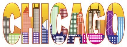 Illustrazione di vettore del testo di colore dell'orizzonte della città di Chicago Fotografia Stock Libera da Diritti