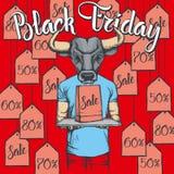 Illustrazione di vettore del toro su Black Friday Fotografia Stock Libera da Diritti