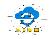 Illustrazione di vettore del trasferimento di dati di stoccaggio della nuvola Immagine Stock