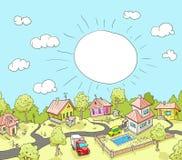 Illustrazione di vettore del villaggio divertente di scarabocchio Fotografia Stock Libera da Diritti