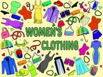 Illustrazione di vettore dell'abbigliamento delle donne Immagini Stock