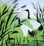 Illustrazione di vettore dell'acquerello degli uccelli dell'airone Fotografia Stock