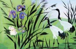 Illustrazione di vettore dell'acquerello degli uccelli dell'airone Immagine Stock Libera da Diritti