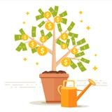 Illustrazione di vettore dell'albero dei soldi Foglie del dollaro e moneta dorata franco Immagine Stock