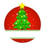 Illustrazione di vettore dell'albero di Natale nel telaio rotondo fotografia stock libera da diritti