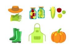 Illustrazione di vettore dell'alimento di conservazione e degli strumenti di giardinaggio Immagine Stock