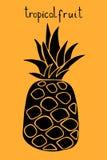 Illustrazione di vettore dell'ananas Siluetta nera di frutta tropicale illustrazione vettoriale