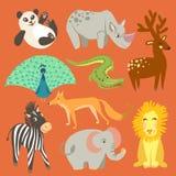 Illustrazione di vettore dell'animale Animali svegli dello zoo Fotografia Stock