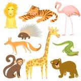 Illustrazione di vettore dell'animale Animali svegli dello zoo Fotografie Stock Libere da Diritti