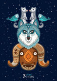 Illustrazione di vettore dell'animale selvaggio del totem husky Immagine Stock
