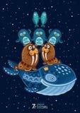 Illustrazione di vettore dell'animale selvaggio del totem walrus Immagine Stock