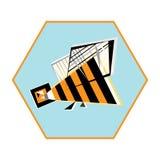Illustrazione di vettore dell'ape Elemento astratto di progettazione dell'insetto e del favo dell'ape Immagini Stock