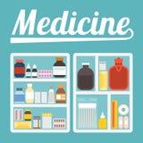 Illustrazione di vettore dell'armadio farmaceutico Immagini Stock