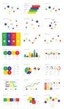 Illustrazione di vettore dell'attività di raccolta degli elementi di Infographic nello stile piano di progettazione per la presen Fotografie Stock