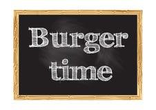 Illustrazione di vettore dell'avviso della lavagna di tempo dell'hamburger illustrazione di stock