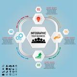 Illustrazione di vettore dell'elemento di infographics di esagono Quattro opzioni Fotografie Stock Libere da Diritti