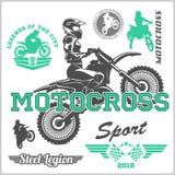 Illustrazione di vettore dell'emblema di logo del distintivo del cavaliere di motocross Fotografia Stock Libera da Diritti