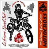 Illustrazione di vettore dell'emblema di logo del distintivo del cavaliere di motocross Fotografie Stock Libere da Diritti
