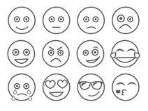 Illustrazione di vettore dell'emoticon Metta il fronte dell'emoticon su un fondo bianco Linea stile di emozioni della raccolta Co Immagini Stock